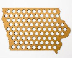 All 50 States Beer Cap Map - Iowa Beer Cap Map IA - Glossy Wood - Skyline Workshop