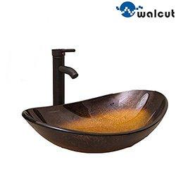Walcut Bathroom Oval Bowl Glass Round Vessel Sink Faucet Drain Basin