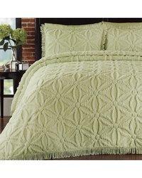Arianna Chenille Bedspread Set, King, Honeydew