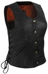 True Element Women's Motorcycle Leather Vest - Black - Size: Medium