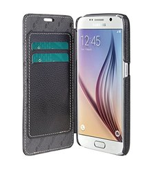 Melkco - Premium Leather Case for Samsung Galaxy S6 - Face Cover Book Type (Black) - SSGLS6LCFB3BKLC
