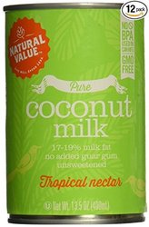 Natural Value B20963 Natural Value Organic Coconut Milks -12x13.5oz