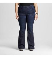 Ava & Viv Women's Solid Flare Jeans - Dark Blue - Size: 26W