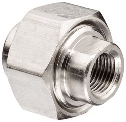 """Polyconn Brass Pipe Fitting Union Female 10 Pk - Nickel Plated - Size:1/8"""""""