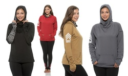 Womens Cowl Neck Pullover Hoodies: Military Cowl Neck - Red/1x
