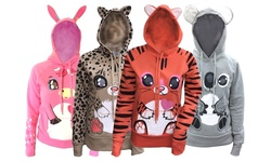 Animal Graphic Zip-up Hooded Sweatshirt With Ears: Beige Leopard/large
