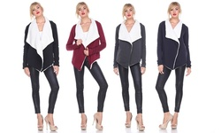 Women's Long-sleeve Sherpa-lined Cardigan: Charcoal/large