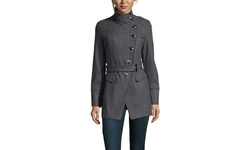 Kenneth Cole Women's Asymetrical Button Wool Coat - Gravel - Size: 10