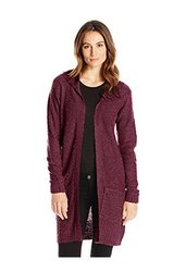Fresh Women's Multi Colored Hood Cardigan - Wine - Size: XL