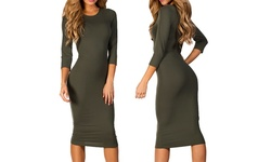 Esty Women's 3/4 Sleeve Midi Bodycon Dress - Olive Green - Size: Large