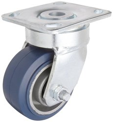 RWM Casters Plate Caster TPR Rubber Wheel Stainless Steel Plate