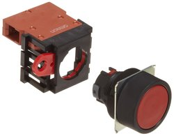 Omron Flat Type Pushbutton & Switch IP65 Oil Resistant Single Pole - Red