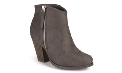Journee Women's Faux Suede Ankle Boots - Charcoal - Size: 8
