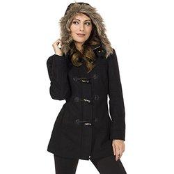 Alpine Swiss Duffy Women's Black Wool Coat Fur Trim Hooded Parka Jacket 2XL