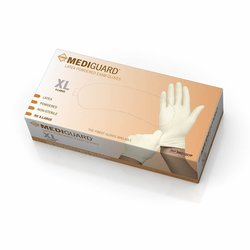MediGuard Non-Sterile Powdered Latex Exam Gloves - Pack of 900 - Beige/XL