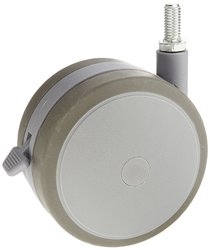 Shepherd 125mm Dia Soft Tread Twin Elastomer Wheel Caster w/ Brake - Gray