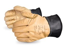 Superior Heavy Duty All Grain Leather Gloves - Tan/Black - Size: 10