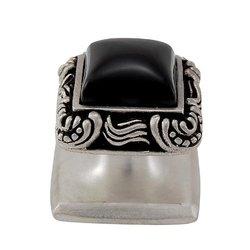 Vicenza Designs Onyx Gioiello Square Stone Insert Style 6 Knob - Black