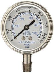 PIC 301LFW-254V 0/15000 Psi Range Glycerin Filled Bottom Pressure Gauge