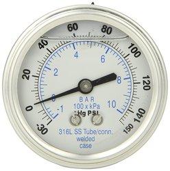 PIC 302LFW-254CF 30/0/150 Psi Range Glycerin Filled Pressure Gauge