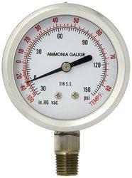 PIC 401DFW-254CF Dry/Fillable Bottom Mount Ammonia Refrigeration Gauge