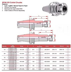 "Pioneer BT40-ER11H-150 5.91"" Projection L 0.25"" Capacity Collet Chucks"