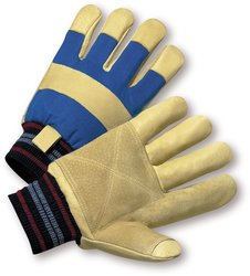 West Chester 1555RF Pigskin Leather Glove - 12 Pk Pairs - Yellow/Blue/3XL