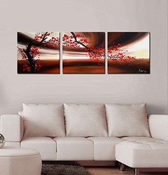 """Artland Modern 100% Hand Painted Flower Oil Painting On Canvas """"red Plum Blossom"""" 3-piece Gallery-wrapped Framed Wall Ar Ready To Hang For Living Room For Wall Decor Home Decoration 16x48inches"""