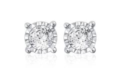 1/10 Cttw Diamond Stud Earring In Sterling Silver For Girls/kids