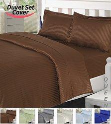 Utopia Bedding Striped Duvet Cover Set - Brown - Size: Queen