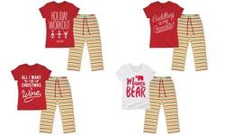 Ladies Holiday Pajama Set: Mama Bear/white - Small