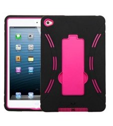 Insten Symbiosis Hybrid Case with Stand for iPad Mini 4 - Black/Hot Pink