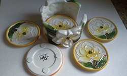 K.K Merchandise 6 Pcs Magnolia Painted Fine Ceramicware Coaster Set