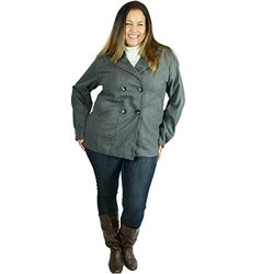 Double Breasted Peacoat Plus Size Jacket / DBA1852GY3 / Charcoal / 3X