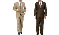 Vitto Italy Men's 2-piece Suit: Tan - 44r/38