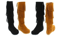 Mata Faux Suede Three Layers Fringe Boots: Tan/8