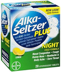 Alka-Seltzer Plus Night Cold Formula Effervescent Tablets Lemon 20 ea (Pack of 11)