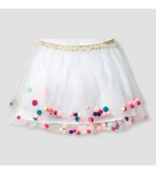 Cat & Jack Girl's Tutu Skirt with Pom Poms - White - Size: Small