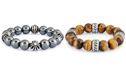 Men's Stainless Steel Natural Gemstone Bead Stretch Bracelet: Tiger Eye