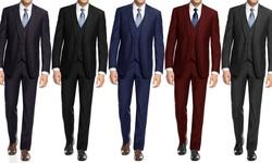 Braveman Slim Fit 3-piece Suit With Free Tie: Charcoal - 34sx28w