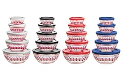 Imperial Home Chevron Decal Design Glass Bowl 10-Piece Set