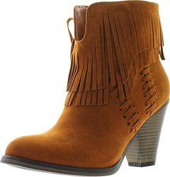 Nature Breeze Dallas-03 Women's V Slit Strap Double Fringe Stacked Heel Booties,Tan,6