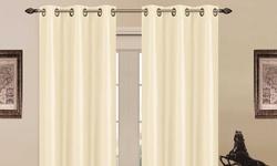 Luxury Home Foam-Backed 76x84 Blackout Grommet Panel Pair - Ivory