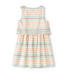 Cherokee Kids Girls' Floral Print Dress - Almond Cream - Size: Medium
