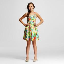 Cherokee Girls' Floral Print Dress - Almond Cream - Size: M (7/8)