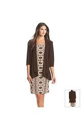 R&M Richards Patterned Jacket Dress - Brown - Size: 14