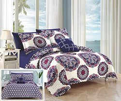 Chic Home QS4062-AN 4 Piece Madrid Super Soft Microfiber Large Printed Medallion Reversible With Geometric Printed Backing Quilt Set, Full/Queen, Navy
