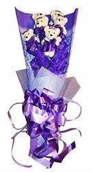 Delia De Lyon Roses with Teddy Bear Premium Soap Flower - Purple - Size: L