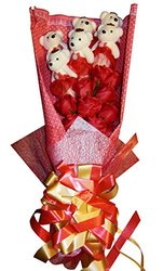 Delia De Lyon Roses with Teddy Bear Premium Soap Flower - Red - Size: L