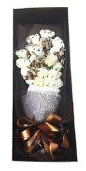 Delia De Lyon Roses with Teddy Bear Premium Soap Flower - White - Size: M